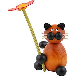 Kleine Figuren & Miniaturen Tiere Katzen Katze Bommel mit Blume - 8cm