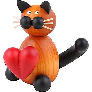 Kleine Figuren & Miniaturen Tiere Katzen Katze Bommel mit Herz - 8 cm