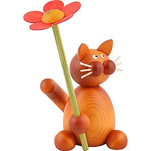 Kleine Figuren & Miniaturen Tiere Katzen Katze Charlie mit Blume - 8cm