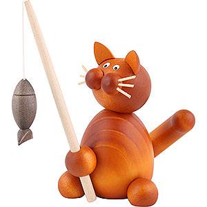 Kleine Figuren & Miniaturen Tiere Katzen Katze Charlie mit Fisch - 8cm