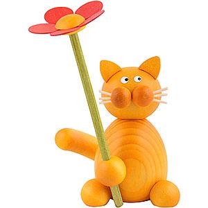 Kleine Figuren & Miniaturen Tiere Katzen Katze Emmi mit Blume - 8 cm