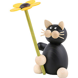 Kleine Figuren & Miniaturen Tiere Katzen Katze Hilde mit Blume - 8cm
