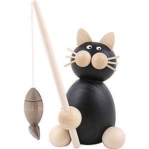 Kleine Figuren & Miniaturen Tiere Katzen Katze Hilde mit Fisch - 8cm