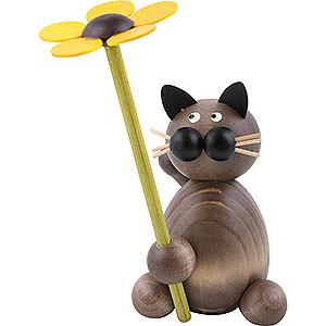 Kleine Figuren & Miniaturen Tiere Katzen Katze Karli mit Blume - 8 cm