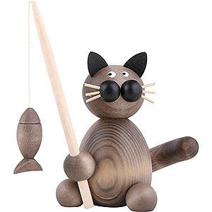 Kleine Figuren & Miniaturen Tiere Katzen Katze Karli mit Fisch - 8cm