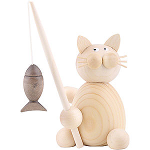 Kleine Figuren & Miniaturen Tiere Katzen Katze Moritz mit Fisch - 8cm