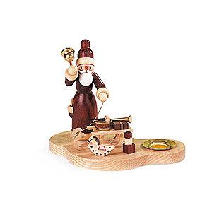 Lichterwelt Kerzenhalter Weihnachtsmann Kerzenhalter - Weihnachtsmann mit Schlitten - 9 cm