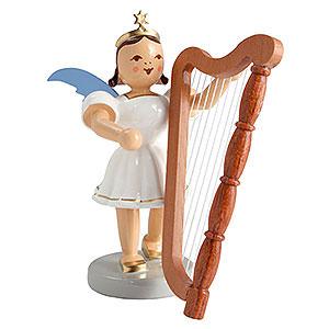 Weihnachtsengel Kurzrockengel farbig (Blank) Kurzrockengel farbig Harfe - 6,6cm