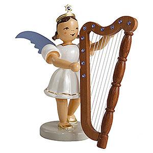 Weihnachtsengel Kurzrockengel farbig (Blank) Kurzrockengel farbig Harfe mit SWAROVSKI ELEMENTS - 6,6cm