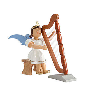 Weihnachtsengel Kurzrockengel farbig (Blank) Kurzrockengel farbig Harfe sitzend - 6,6cm