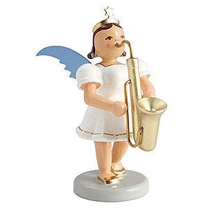 Weihnachtsengel Kurzrockengel farbig (Blank) Kurzrockengel farbig Saxophon - 6,6cm