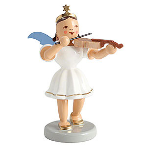 Weihnachtsengel Kurzrockengel farbig (Blank) Kurzrockengel farbig Violine - 6,6cm