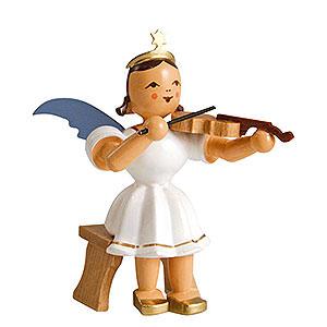Weihnachtsengel Kurzrockengel farbig (Blank) Kurzrockengel farbig Violine sitzend - 6,6cm