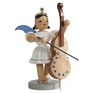 Weihnachtsengel Kurzrockengel farbig (Blank) Kurzrockengel farbig Violoncello mit SWAROVSKI ELEMENTS - 6,6 cm