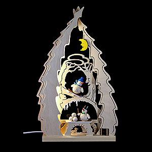 Lichterwelt Lichterspitzen Lichterspitze Baum mit Schneemännern - 43x25x4,5cm