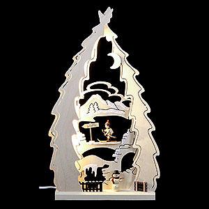 Schwibbögen Laubsägearbeiten Lichterspitze LED Baum Langlauf - 43x25x4,5cm