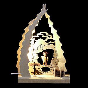 Schwibbögen Laubsägearbeiten Lichterspitze LED mini Wanderer - 15,5x23,5x4,5cm