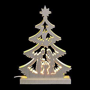 Lichterwelt Lichterspitzen Lichterspitze - Mini-Baum Krippenszene, LED - 23,5 x 15,5 x 4,5 cm