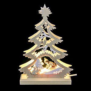 Lichterwelt Lichterspitzen Lichterspitze - Mini-Baum Rodler - LED - 23,5 x 15,5 x 4,5 cm