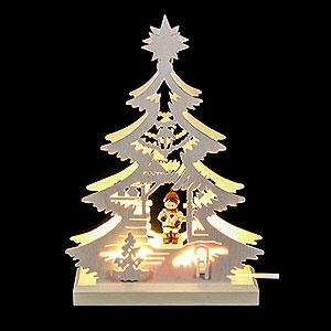 Lichterwelt Lichterspitzen Lichterspitze - Mini-Baum Weihnachtsmarkt - LED -23,5 x 15,5 x 4,5 cm