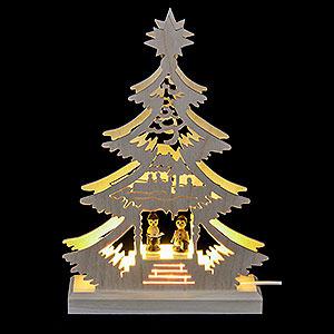 Lichterwelt Lichterspitzen Lichterspitze - Mini-Baum Weihnachtssänger - LED -23,5 x 15,5 x 4,5 cm