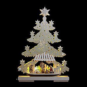 Lichterwelt Lichterspitzen Lichterspitze - Tanne Christuskind mit Krippenfiguren - 32x44x7cm