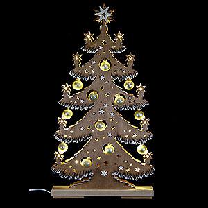Lichterwelt Lichterspitzen Lichterspitze Tanne goldene Kugeln braun Raureif - 30,5x57,5cm