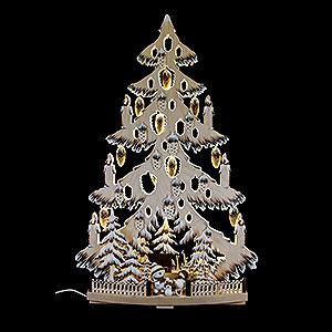Lichterwelt Lichterspitzen Lichterspitze Tanne mit Zapfen, Schneebällchen, Raureif - 38x72 cm