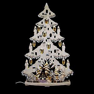 Lichterwelt Lichterspitzen Lichterspitze Tannenbaum mit Waldhütte und Raureif - 44x67x9cm