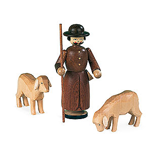 Small Figures & Ornaments Manger-Figurines (Müller) Manger-figurines - Shepherd with 2 sheep - 13 cm / 5 inch