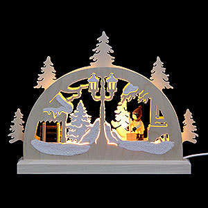 Candle Arches Fret Saw Work Mini LED Candle Arch - Snow Shovelling - 23x15x4,5 cm / 9x6x2 inch