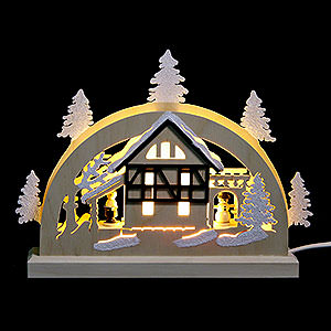 Candle Arches Fret Saw Work Mini LED Lightarch - Frame House - 23x15x4,5 cm / 9x6x2 inch