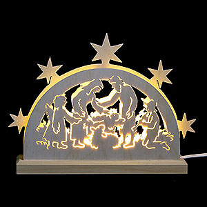 Candle Arches Fret Saw Work Mini LED Lightarch - Nativity Motif - 23x15x4,5cm / 9x6x2 inches