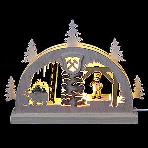 Schwibbögen Laubsägearbeiten Mini LED Schwibbogen - Bergwerk - 23x15x4,5cm