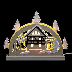 Schwibbögen Laubsägearbeiten Mini-LED-Schwibbogen Fachwerkhaus - 23x15x4,5 cm