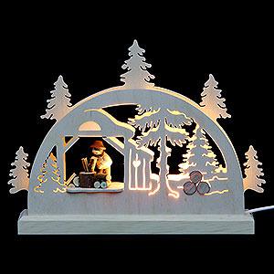 Schwibbögen Laubsägearbeiten Mini LED Schwibbogen - Holzhacker - 23x15x4,5 cm