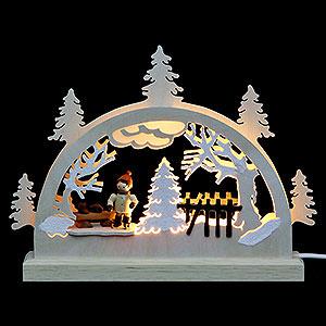 Schwibbögen Laubsägearbeiten Mini LED Schwibbogen - Schlittschuhläufer - 23x15x4,5 cm