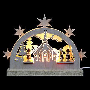 Schwibbögen Laubsägearbeiten Mini LED Schwibbogen - Seiffener Kirche - 23 x 15 x 4,5 cm