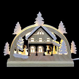 Schwibbögen Laubsägearbeiten Mini LED Schwibbogen - Umgebindehaus - 23x15x4,5cm
