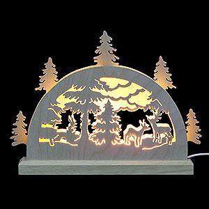 Schwibbögen Laubsägearbeiten Mini LED Schwibbogen - Waldmotiv - 23 x 15 x 4,5 cm