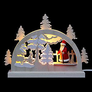 Schwibbögen Laubsägearbeiten Mini LED Schwibbogen - Weihnachtsmann im Wald - 23 x 15 x 4,5 cm