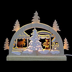 Schwibbögen Laubsägearbeiten Mini LED Schwibbogen - Weihnachtsmarkt - 23 x 15 x 4,5 cm