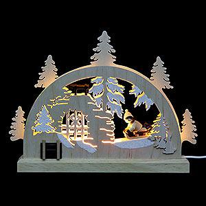 Schwibbögen Laubsägearbeiten Mini LED Schwibbogen - Winterlandschaft - 23 x 15 x 4,5 cm