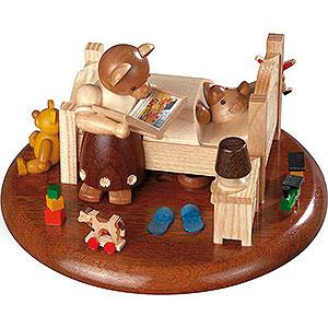 Spieldosen Alle Spieldosen Motivplattform für elektr. Spieldose - Bärenbett Gute-Nacht-Geschichten - 8cm