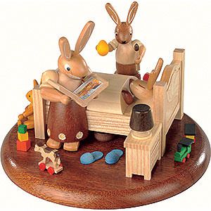 Spieldosen Alle Spieldosen Motivplattform für elektr. Spieldose - Hasenbett Gute-Nacht-Geschichten - 10cm