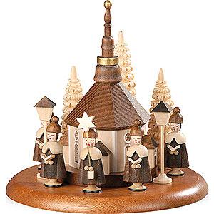 Spieldosen Alle Spieldosen Motivplattform für elektr. Spieldose - Kurrende mit Seiffener Kirche natur - 13cm