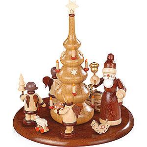 Spieldosen Alle Spieldosen Motivplattform für elektr. Spieldose - Weihnachtsmann und Geschenkeengel natur - 15cm