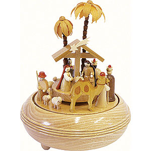 Music Boxes Christmas Music Box Nativity Scene natural wood - 8 inch - 20 cm