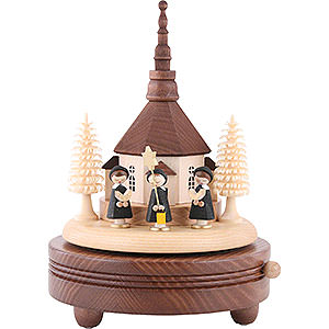 Music Boxes Christmas Music Box Seiffen Church with Carolers - 18 cm / 7 inch