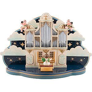 Weihnachtsengel Orchester (Hubrig) Orgel mit kleiner Wolke - 1.22 Musikwerk für Hubrig Engelorchester - 35x22x13cm
